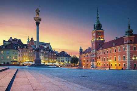 old architecture: Warsaw. Image of Old Town Warsaw, Poland during sunset.