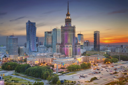 Warsaw. Image of Warsaw, Poland during twilight blue hour. Stock Photo - 60675068