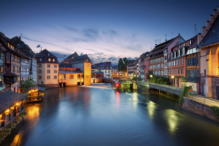 Strasbourg. Image of Strasbourg old town during twilight blue hour. Stock Photo