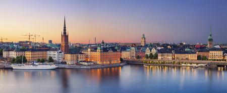 ストックホルム。日没時にストックホルム、スウェーデンのパノラマ画像。