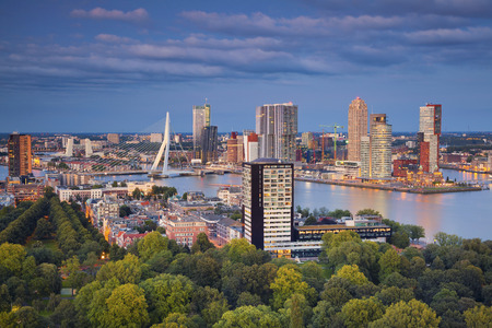 Rotterdam. Image of Rotterdam, Netherlands during twilight blue hour. Stock Photo