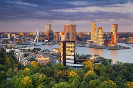 Rotterdam. Image of Rotterdam, Netherlands during summer sunset. Stock Photo - 64859443