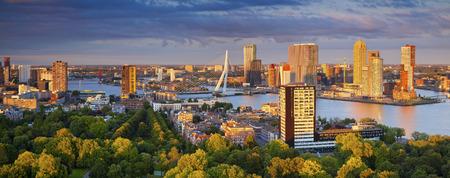 Rotterdam Panorama. Panoramic image of Rotterdam, Netherlands during summer sunset. Banco de Imagens - 64859447