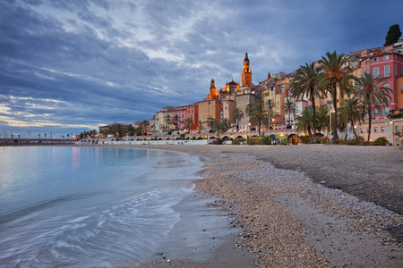 menton: Menton. Image of Menton, French Riviera during twilight blue hour.