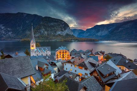 Hallstatt, Austria.Image of famous alpine village Hallstatt during autumn sunrise.