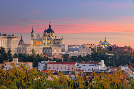 Madrid. Image of Madrid skyline with Santa Maria la Real de La Almudena Cathedral and the Royal Palace during sunset. Stock Photo - 68883945