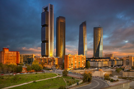 financial district: Madrid. Image of Madrid, Spain financial district with modern skyscrapers during sunrise.