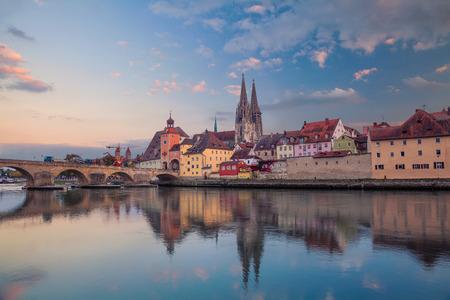 Regensburg. Cityscape image of Regensburg, Germany during sunset. Standard-Bild