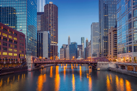 illuminated: Chicago Downtown. Cityscape image of Chicago downtown during twilight blue hour.