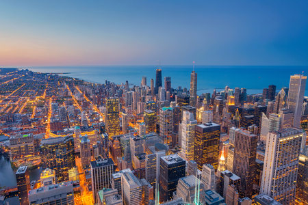 Chicago. Cityscape image of Chicago downtown during twilight blue hour. Stock Photo