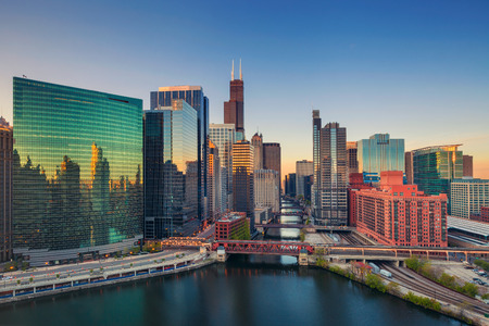 sears: Chicago at dawn. Cityscape image of Chicago downtown at sunrise.