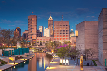 indianapolis: Indianapolis. Cityscape image of downtown Indianapolis, Indiana during twilight blue hour. Stock Photo