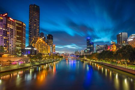 river: City of Melbourne. Cityscape image of Melbourne, Australia during twilight blue hour. Stock Photo
