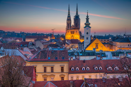 Zagreb. Cityscape image of Zagreb, Croatia during twilight blue hour. Reklamní fotografie