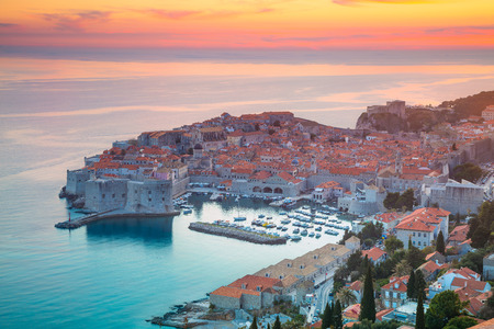Dubrovnik, Croatia. Beautiful romantic old town of Dubrovnik during sunset.