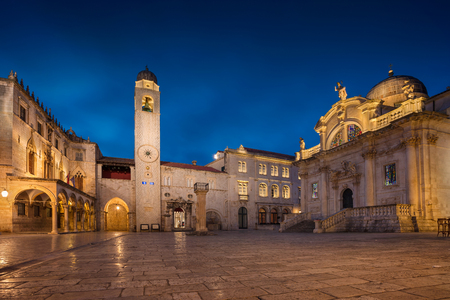 town houses: Dubrovnik. Beautiful romantic streets of old town Dubrovnik during twilight blue hour.