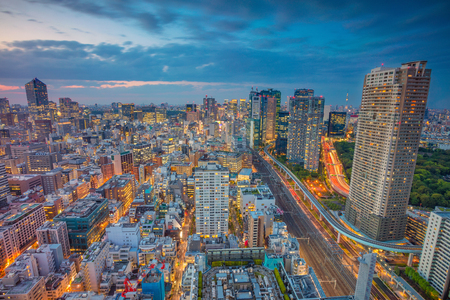 dark: Tokyo. Cityscape image of Tokyo, Japan during sunset.