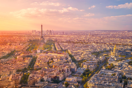 City of Paris. Aerial image of Paris, France during golden sunset hour. Stock Photo