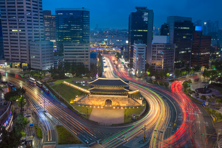 Seoul. Image of Seoul downtown with Sungnyemun Gate during twilight blue hour. Stock fotó