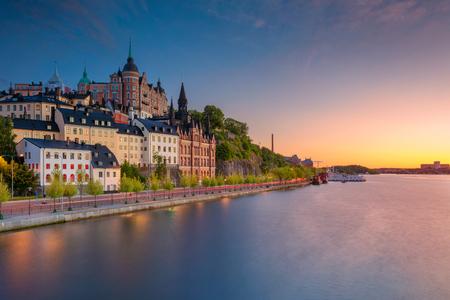 스톡홀름. 오래 된 마 스톡홀름, 스웨덴 일몰 동안 이미지입니다.