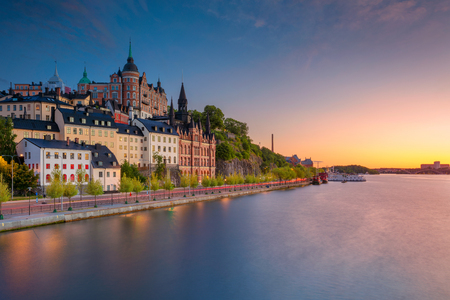 Stockholm. Afbeelding van de oude stad Stockholm, Zweden tijdens zonsondergang. Stockfoto