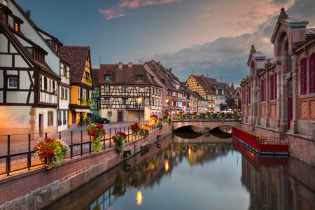 City of Colmar. Cityscape image of downtown Colmar, France during sunset.