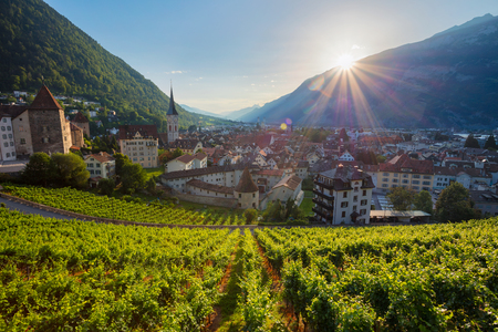 City of Chur. Cityscape image of swiss town Chur, during sunset.
