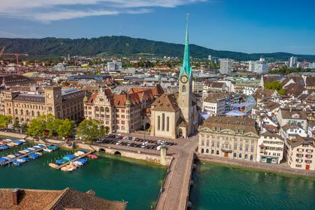 Zurich. Aerial image of Zurich, Switzerland during sunny summer morning. Stock Photo