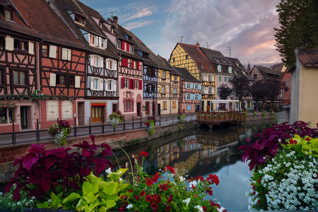 City of Colmar. Cityscape image of old town Colmar, France during sunset. Banco de Imagens