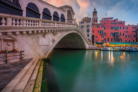 Venice. Cityscape image of Venice with famous Rialto Bridge and Grand Canal. Stock Photo