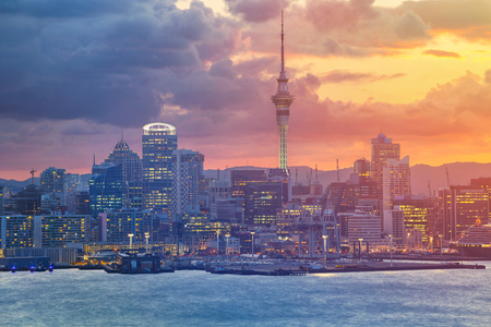 Auckland. Cityscape image of Auckland skyline, New Zealand during sunset.