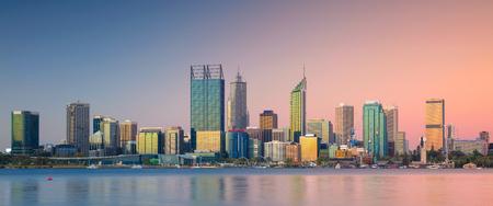 Perth. Panoramic cityscape image of Perth skyline, Australia during sunset. Stock Photo