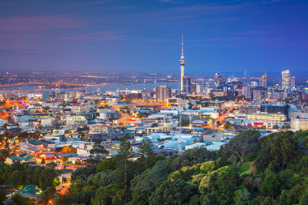 Auckland. Cityscape image of Auckland skyline, New Zealand taken from Mt. Eden at dusk. Stock Photo