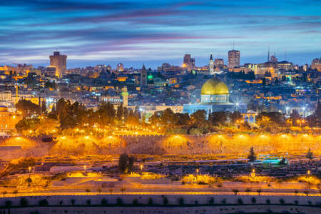 Old Town of Jerusalem. Cityscape image of Jerusalem, Israel with Dome of the Rock at sunset.