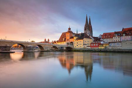 Regensburg. Cityscape image of Regensburg, Germany during spring sunrise.