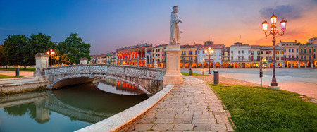 Padua. Panoramic cityscape image of Padua, Italy with Prato della Valle square during sunset.