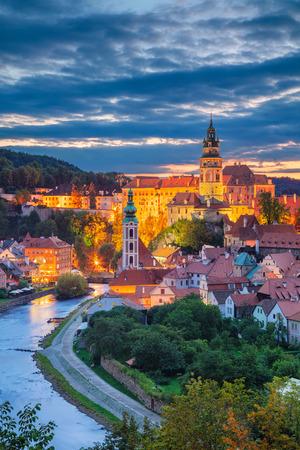 Cesky Krumlov. Aerial cityscape image of Cesky Krumlov, Czech Republic during summer sunset. Stock Photo