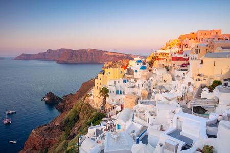 Oia, Santorini. Image of famous village Oia located at one of Cyclades island of Santorini, South Aegean, Greece.