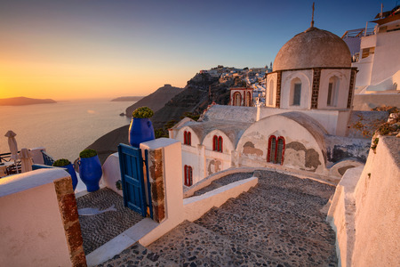 Thira, Santorini. Image of famous village Thira located at one of Cyclades island of Santorini, South Aegean, Greece.