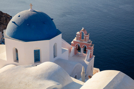 Oia, Santorini. Close up image of Greek Church located at the island of Santorini, South Aegean, Greece. Stock Photo
