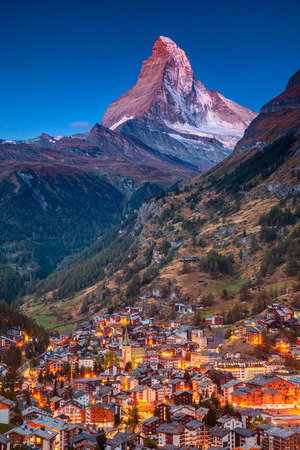 Zermatt. Image of iconic village of Zermatt, Switzerland with Matterhorn in the background during twilight. Imagens