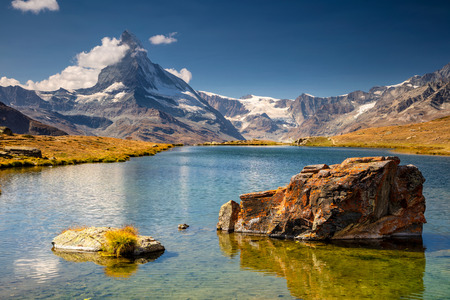 Swiss Alps. Landscape image of Swiss Alps with Stellisee and Matterhorn in the background.