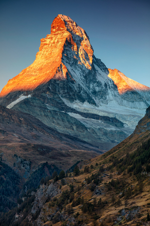 Matterhorn. Landscape image of Matterhorn, Switzerland during autumn sunrise.