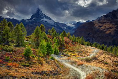 Matterhorn, Swiss Alps. Landscape image of Swiss Alps with Matterhorn during autumn evening.