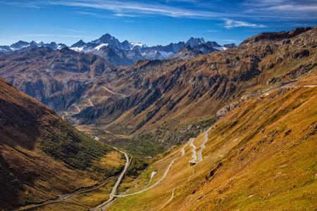 Furka Pass, Swiss Alps. Landscape image of Furka Pass located in Swiss Alps, Switzerland.