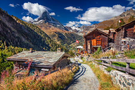 Swiss Alps. Landscape image of Swiss Alps with Matterhorn during autumn morning. Stock Photo