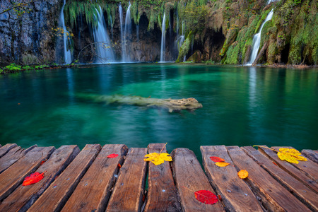 Plitvice Lakes. Image of waterfall located in Plitvice National Park, Croatia during autumn day. Stock Photo