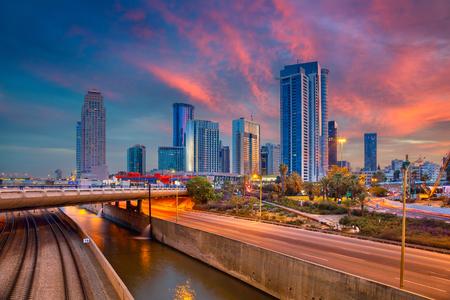 Tel Aviv. Cityscape image of Ramat Gan, Tel Aviv, Israel during dramatic sunrise.