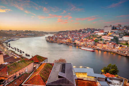 Porto, Portugal. Cityscape image of Porto, Portugal with the Douro River during sunset.