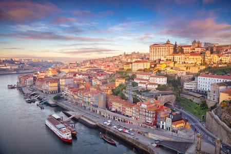 Porto, Portugal. Aerial cityscape image of Porto, Portugal during sunrise.